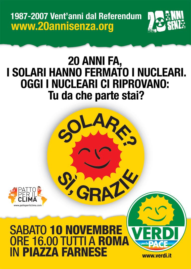 Vent'anni fa i solari hanno fermato i nucleari. Oggi i nucleari ci riprovano. Tu da che parte stai? Se volete partecipare gratuitamente alla manifestazione di Roma che si terrà Sabato […]